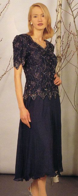 Great Tea Length Mother of the Bride Dresses or Groom Easy Fitting in Navy or Blk 58033