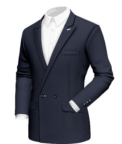 Mistral:peak lapel and white button threads characterize the design of this navy blue jacket: a must-have for this summer. Fabric Selected: Sortino  http://www.tailor4less.com/en/collections/custom-jackets/breeze/mistral
