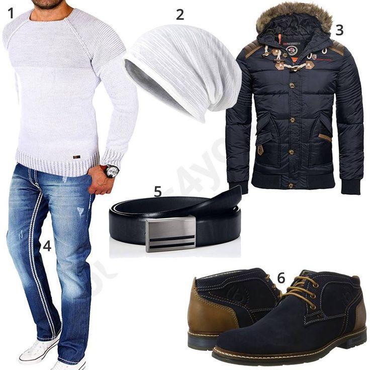 Dunkelblaues Herrenoutfit mit weißem Pullover und Mütze – Erbey Solis