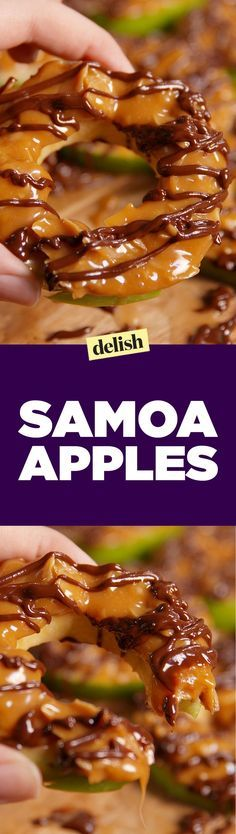 These samoa apple slices are like low-carb Girl Scouts​ cookies. Get the recipe on http://Delish.com.