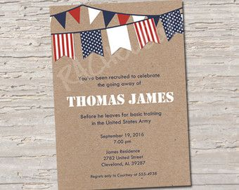 military going away party invitation deployment party - Going Away Party Invite