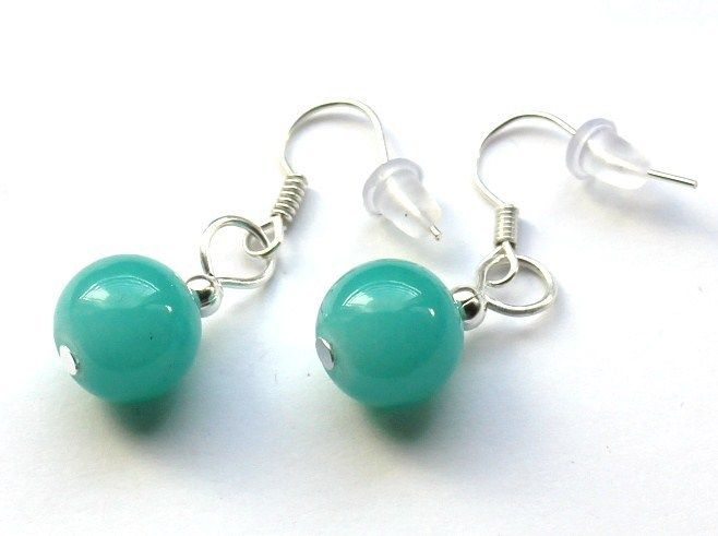 Turkusowe kolczyki ze szklanych kulek 10 mm w Especially for You! na http://pl.dawanda.com/shop/slicznieilirycznie  #kolczyki #earrings  #handmade #DaWanda