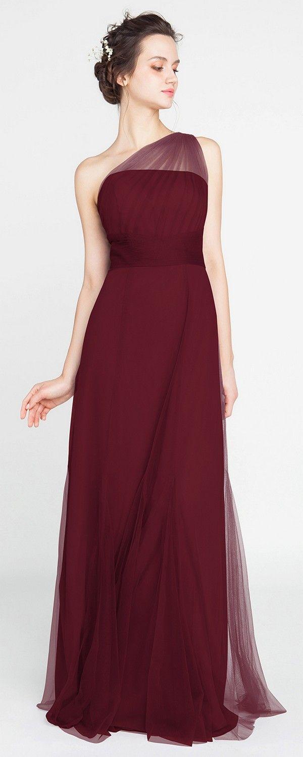 Elegant Long Tulle Illusion One Shoulder Burgundy Bridesmaid Dress #wedding #bridesmaiddresses #bridesmaid