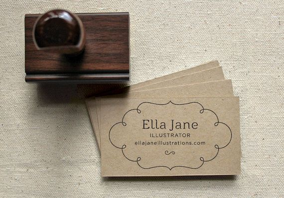 Custom Business Card Stamp Set, Sweet Design: Includes 100 Blank Business Cards, a Personalized Stamp and Black Ink Pad via Etsy