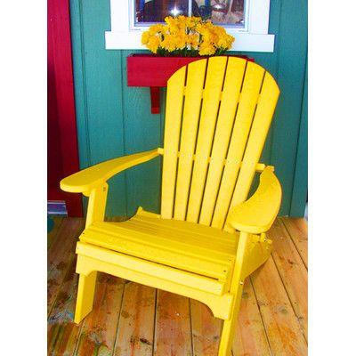 Buyers Choice Phat Tommy Folding Recycled Poly Adirondack Chair Finish: Sunshine Yellow