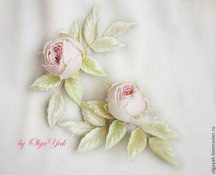 Цветы из ткани. Две розы. Для невесты. - цветы из шелка,цветок из шелка