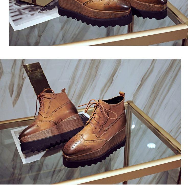 Новая осень и зима в Европе и Америке ретро-коричневый резной квадратный голову женской обуви склон с толстым дном туфли на платформе кожаные ботинки прилива Рим - глобальной станции Taobao