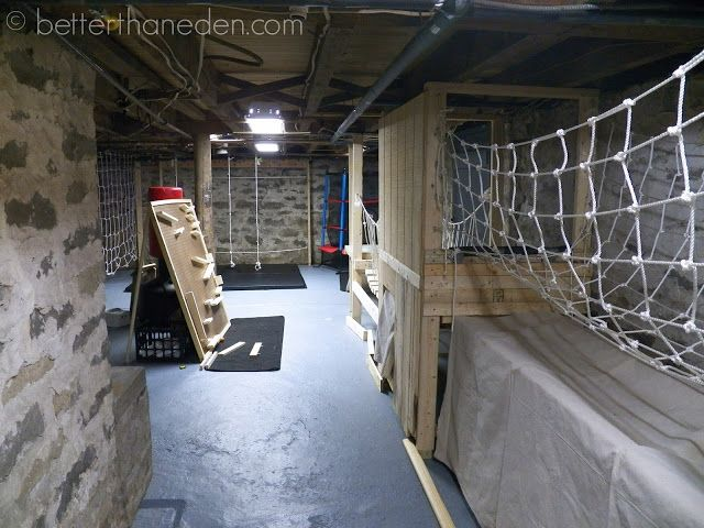Need a basement conversion idea? Here is a basement conversion layout idea.This is not just any home gym. This one is modelled on an Army assault course (Think American Ninja Warrior)! and made entirely from scrap wood and old rope. Great for men of all ages.  You really don't need a lot of space or fancy equipment to keep fit these days, and for the price of an annual Gym membership you could kit your basement out just the way you like it (and choose your own music while you are at it!).