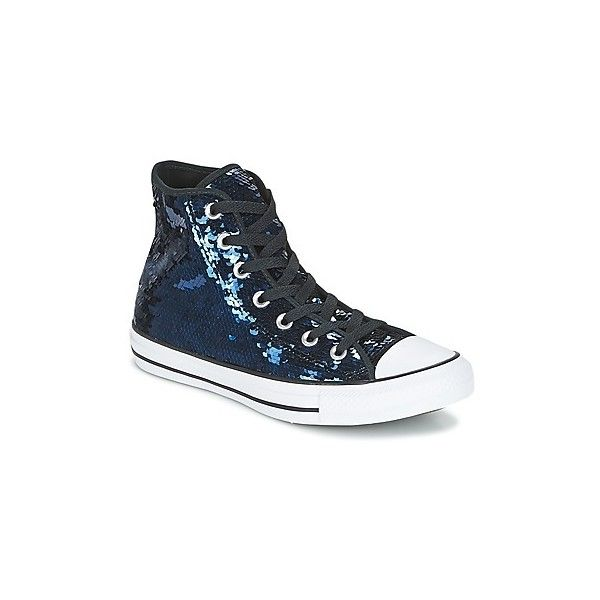 886081ec9bd Converse CHUCK TAYLOR ALL STAR SEQUINS HI MIDNIGHT INDIGO (£40) ❤ liked on  Polyvore featuring shoes