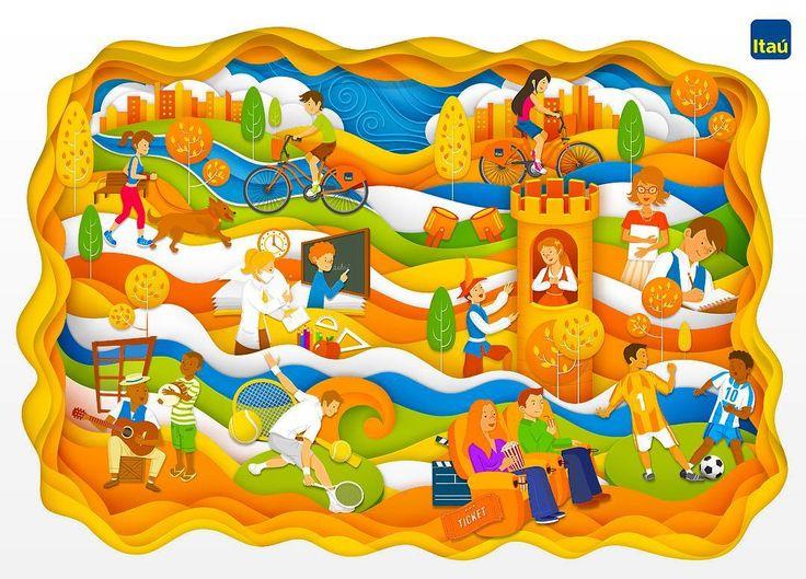 Ilustração finalizada da capa de caderno para o Itaú u   #itau #illustration #sketch #sketchbook #art #culture #music #education #sports #brasil #fanart #causes #capoeira #nordeste #bahia #escola #musica #samba #wip #design #tennis #castle #juliet #movies #itaucultural #bicicleta #bike #bicicletaitau by estudiomaquinario