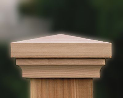 """Slip over post caps post caps fit wood posts from 3 ½"""" – 10"""". Post caps are available in either redwood or red cedar.  Post caps are made in the USA.  Custom Sized Post Caps Available."""