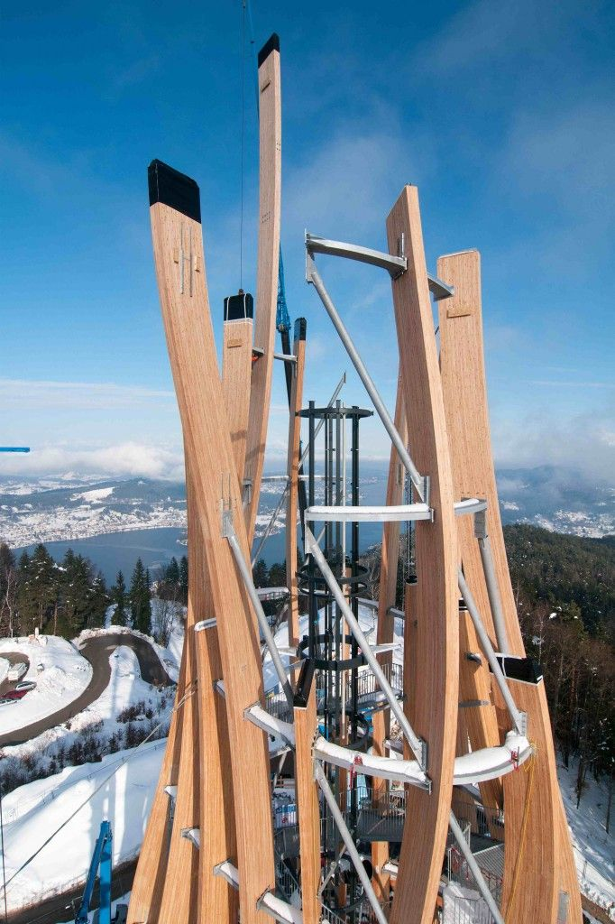 http://www.archipanic.com/wooden-architecture-tags-the-sky/ WOODEN ARCHITECTURE TAGS THE SKY Towers and landmark architecture won't be a metropolis prerogative anymore! In june 2013 the breathtaking panorama of Carinthia, Austria, will guest Pyramidenkogel, the highest wooden tower in the world. Creating a 100 m high project, the Klagenfurt based architecture studio Klaura, Kaden + Partners, took  the challenge of Rubner Holzbau, European leading player for large timber building…