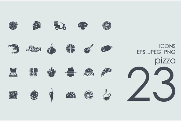 23 pizza icons ~ Icons on Creative Market