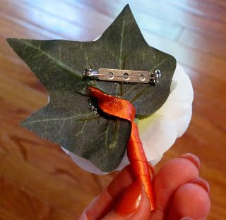 ** Hot glue a pin mechanism to the back, rather than using the big corsage pins that are so hard to manage.  BonnieProjects: Silk Floral Bouquets, Boutonnieres, and Corsages