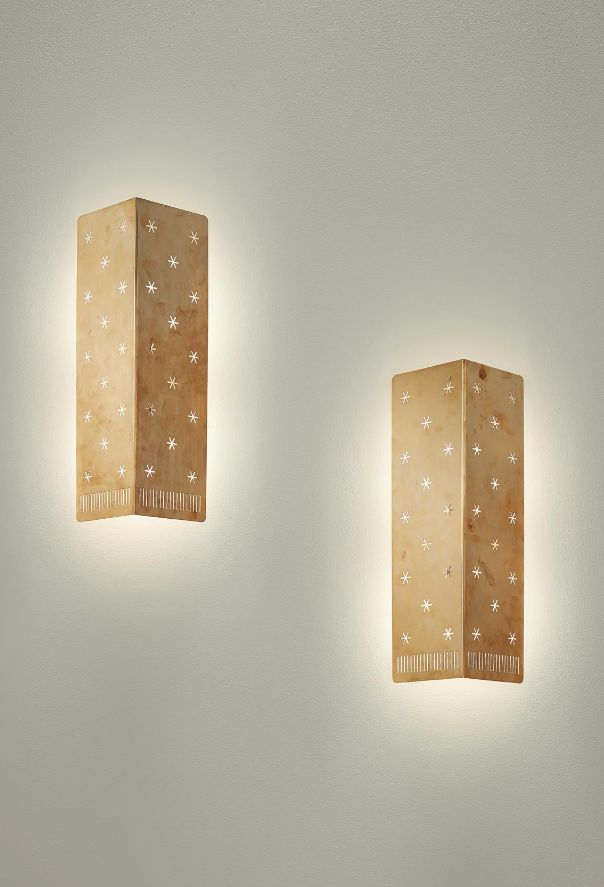 Paavo Tynell; #6200 Brass Wall Lights for Taito Oy, 1950s.