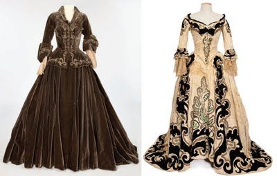 """Dresses worn by Norma Shearer in the 1938 movie """"Marie Antoinette"""" (L): umber silk velvet two-piece dress (Also worn by Lucille Ball as """"Madame Du Barry"""" in Du Barry Was A Lady) and (R): ivory with black velvet two-piece gown."""