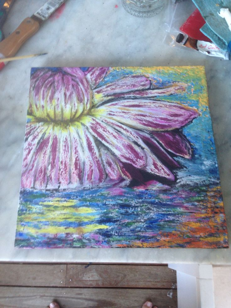 Lotus Flower   Using gap filler and acrylic paints.  Applied with a paddle pop stick and a disposable chopstick..   CJ