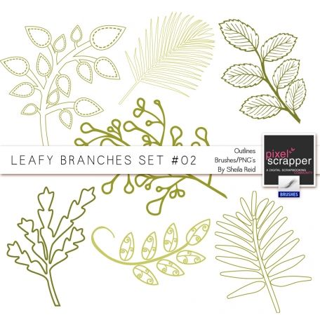 Leafy Branches Set #02 Outlines Brushes/PNG's Kit by Sheila Reid:)