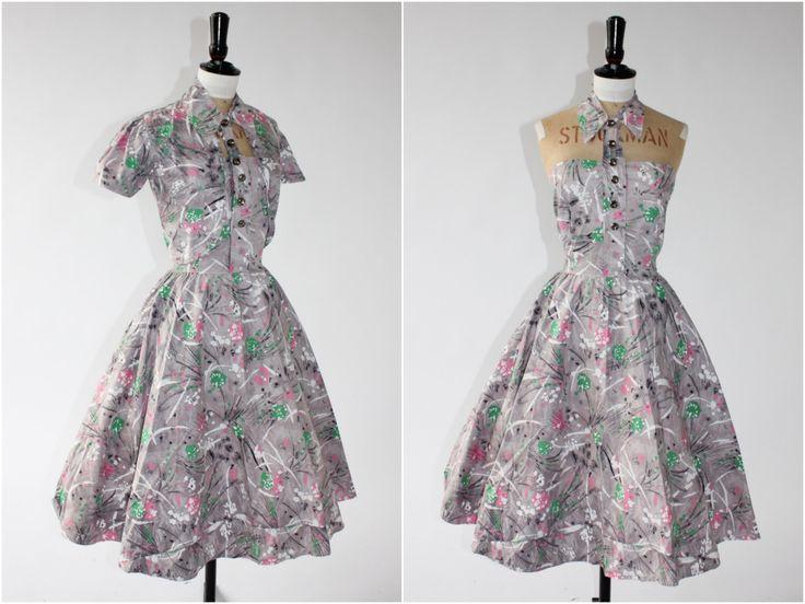 RESERVED on LAYWAY Vintage original 1950s 50s novelty print paint splatter dress unusual neckline w matching bolero uk 8 10 us 4 6 S door AdvantageInVintage op Etsy https://www.etsy.com/nl/listing/292098347/reserved-on-layway-vintage-original
