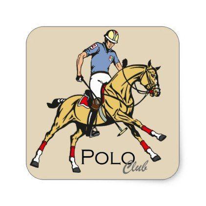 equestrian polo sport club square sticker - #customizable create your own personalize diy