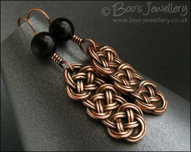 Hand Crafted Jewellery by Boo - original jewellery in copper, bronze and Sterling silver - Antiqued copper and onyx knot earrings (Powered by CubeCart)
