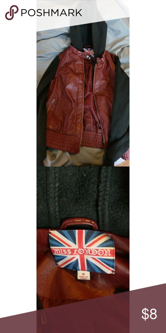Dark red leather jacket Used about 3 times. Dark red leather jacket with hood. Jackets & Coats