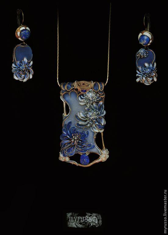Купить Chrysanthemes en porcelaine - синий, голубой, белый, хризантемы, япония, модерн, Ар Нуво