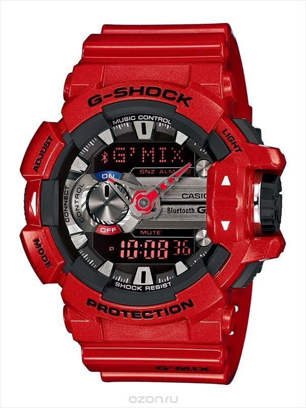 Часы мужские наручные Casio G-SHOCK, цвет: красный, серебристый. GBA-400-4A