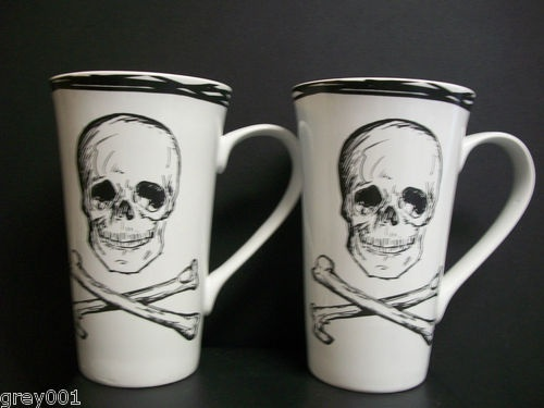 New Set 2 Coventry Skull Crossbones White Latte Coffee Tea 18oz Tall Cup Mugs | eBay
