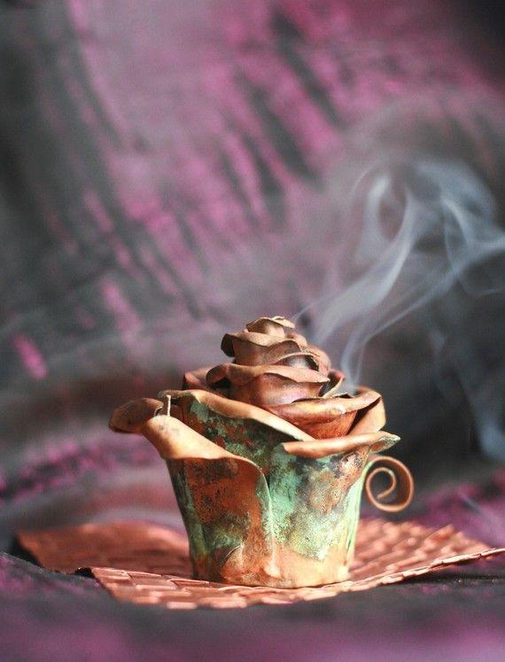 Metal Copper Incense Holder - Rose Bud - Handmade out of copper - CUSTOM ORDER via Etsy