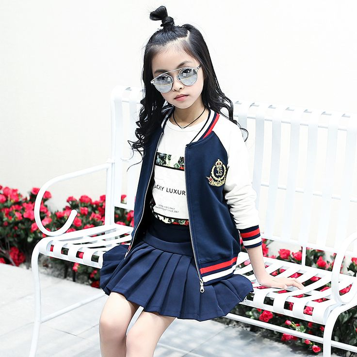 Fshion 2017 children's clothing school uniform coat with skirt 2pcs suit baby girl formal clothes set girls preppy style costume