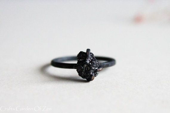 Black Diamond Ring unique  Sterling silver oxidized ring - Black Rough Diamond