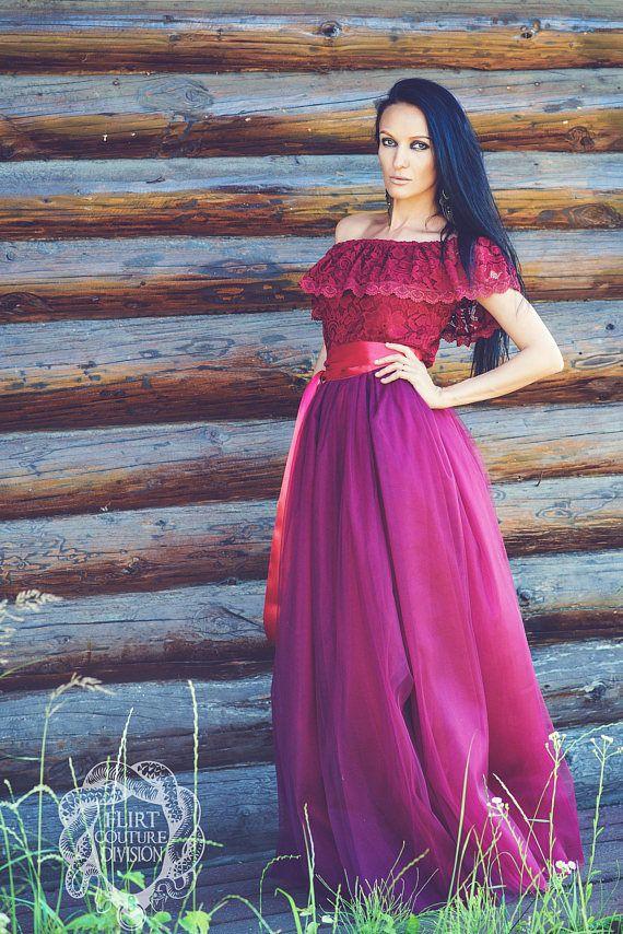 Burgundy Tulle Skirt, Maxi Tutu Skirt, Vinous long skirt, Long Tutu Skirt