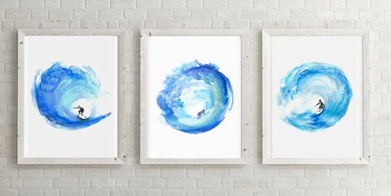 Surf Art surf watercolor painting Giclee print by Zendrawing