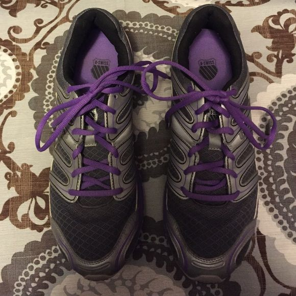 K Swiss Purple and Grey Sneakers Purple, grey, and silver K Swiss sneakers. Size 11. Gently used. K Swiss Shoes Sneakers