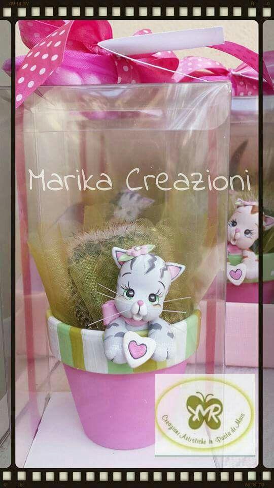 Vasetti con gattino Marika Creazioni in Pasta di Mais