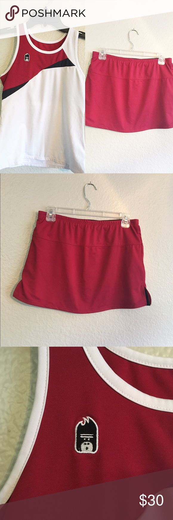 Tennis Uniform Great condition. Tennis uniform SET. The skirt is reversible (black and red). The red is a mix between a red and maroon. The top is S, the bottom is S/M. Other