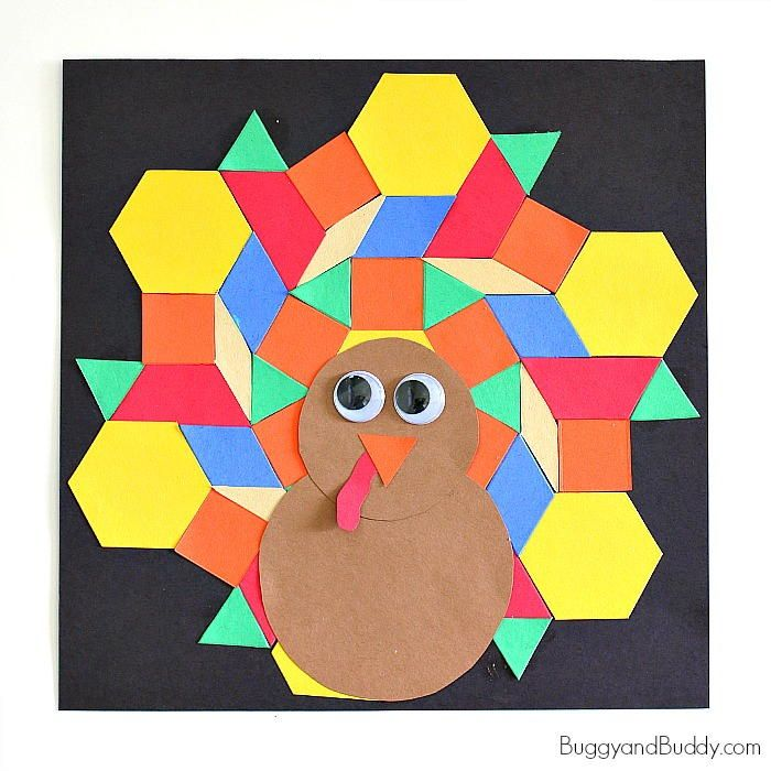 Mosaic Turkey Paper Craft for Kids | Try this cute turkey craft with the kids this Thanksgiving!
