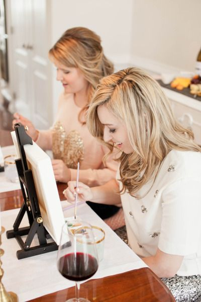 Wine, cheese and painting party: http://www.stylemepretty.com/living/2015/03/06/wine-and-painting-party-inspiration/ | Photography: Sabrina Nohling - http://www.sabrinanohlingphotography.com/