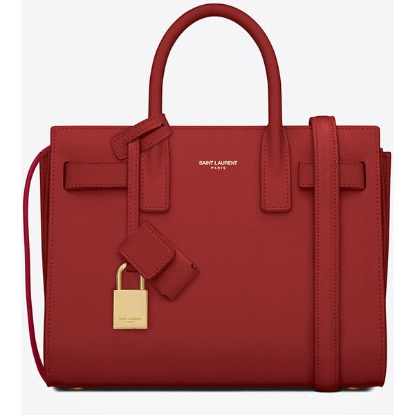 Saint Laurent Classic Nano Sac De Jour Bag ($1,875) ❤ liked on Polyvore featuring bags, handbags, shoulder bags, red purse, embossed purse, red handbags, embossed handbags and yves saint laurent purse