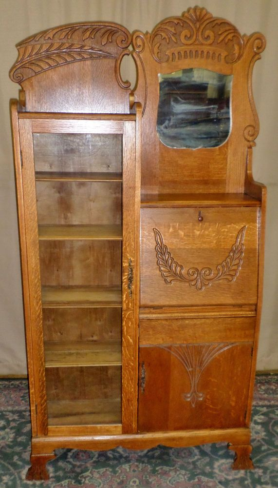 ANTIQUE Oak Side by Side Slant Front Desk, Bookcase, Cabinet. Secretary ... - 111 Best Victorian Side-By-Side Secretary Desks Images On