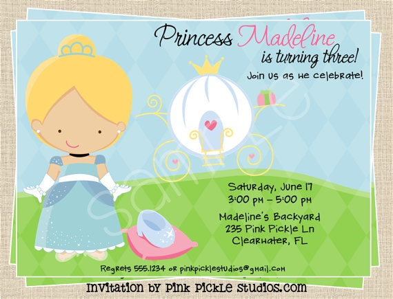 cute invitation from the Pink Pickle!: Birthday Parties, Cinderella Birthday, Sienna Birthday, Girls Birthday, Birthday Ideas