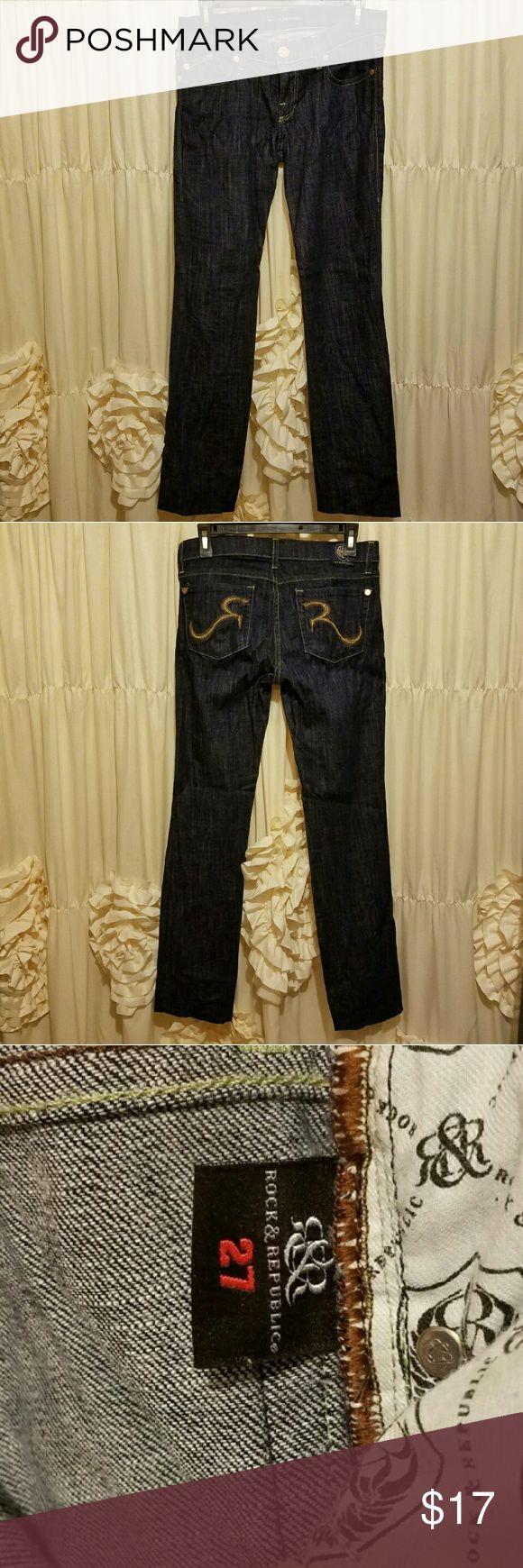 """Dark denim Rock & Republic jeans EUC. Awesome R & R jeans! Great look! Inseam: 34"""" Rock & Republic Jeans Straight Leg"""