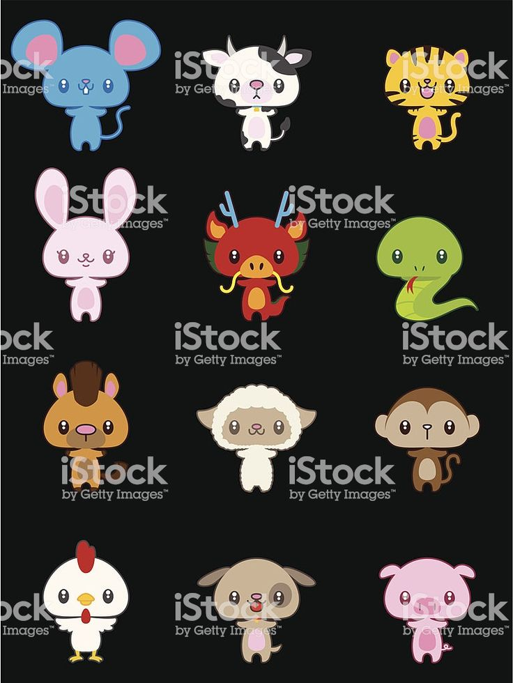 Vector illustration cartoon of cute Chinese zodiac animals