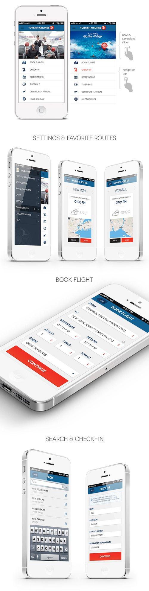 Turkish Airlines – iPhone App #UI #UX #flat #design