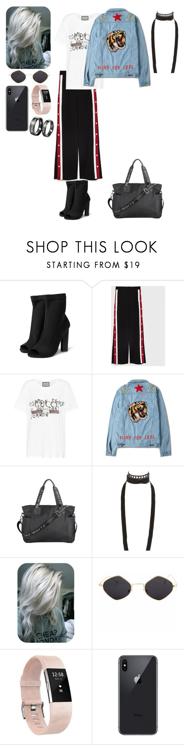 """""""It's a promise ring for him and I"""" by wallflowerofdesires14 ❤ liked on Polyvore featuring Gucci, Ann Demeulemeester and Fitbit"""