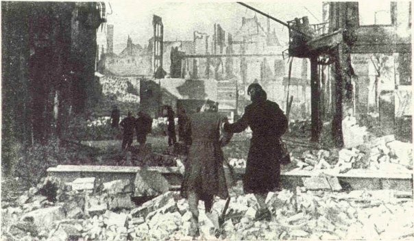 After the bombing in Nijmegen, February 22, 1944. My grandmother is the woman on the right.