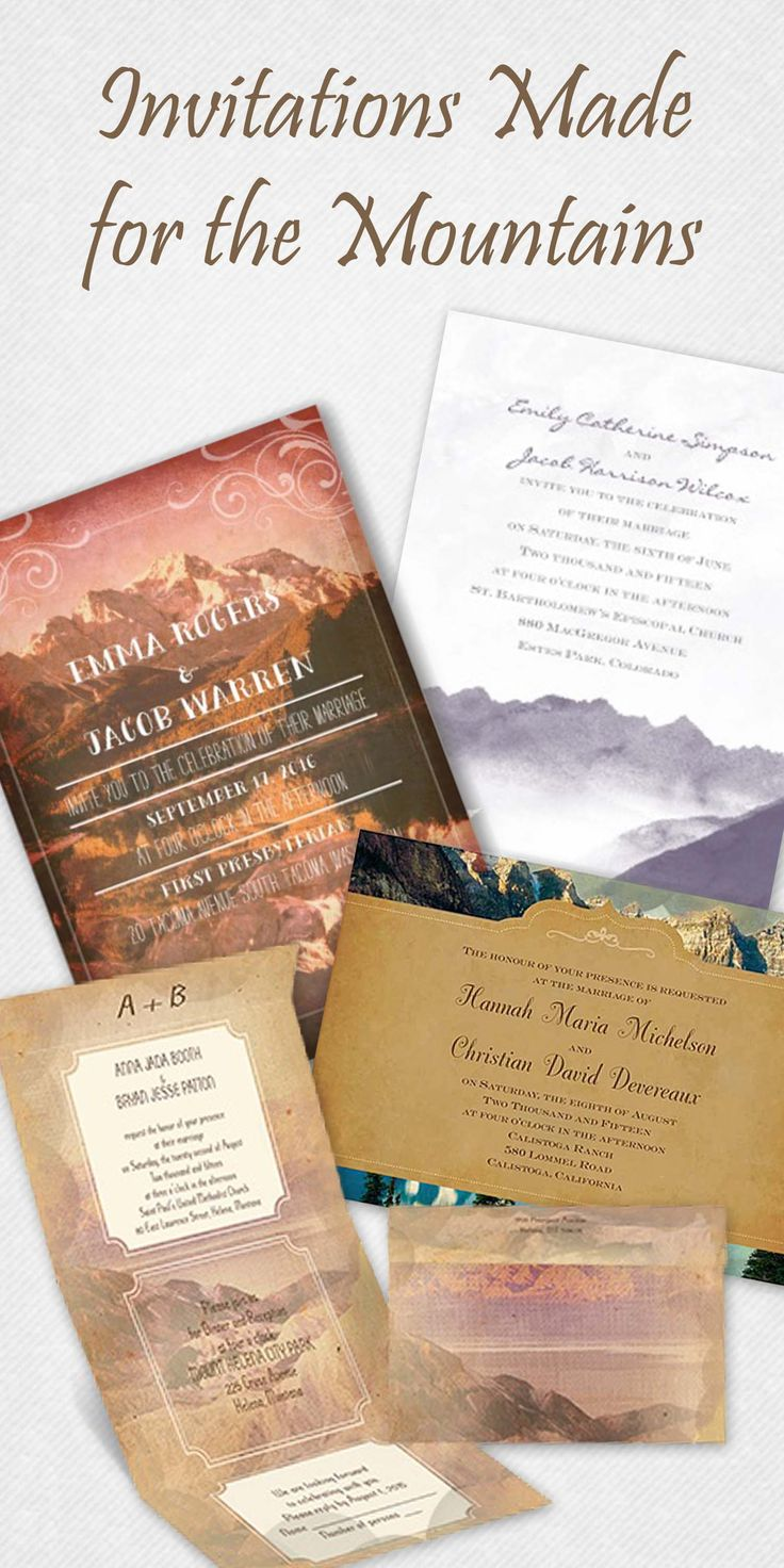 Wedding invitations made for the mountains from