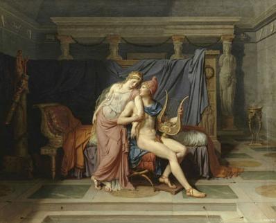 자크 루이 다비드(Jacque Louis David)의 파리스와 헬레네의 사랑(Les Amours de Paris et Helene) / 1789 / 루브르 박물관 파리스와 헬레네의 사랑 이야기는 호메로스의 서사시 일리아드로 잘 알려져 있다. 테티스와 펠레우스의 결혼식에 초대받지 못한 불화의 여신 에리스는 결혼식장에 '가장 아름다운 여신에게' 라는 문구가 적힌 사과를 던져 넣는다. 헤라, 아프로디테, 아테네 세 여신은 이 사과를 놓고 싸우다가 제 3자인 트로이의 왕자 파리스에게 결정을 맡기기로 한다. 파리스의 선택을 받기 위해서 헤라는 그에게 소아시아 전체를, 아테네는 어떤 전투에서도 이길 수 있는 힘을 약속하였지만 파리스는 결국 세상에서 가장 아름다운 여인을 주겠노라고 약속한 아프로디테에게 사과를 건넨다. 아프로디테가 말한 가장 아름다운 여인은 바로 헬레네로 그녀는 이미 스파르타의 왕 메넬라오스의 왕비였지만 파리스는 아프로디테의 도움으로 그녀를 트로이로 데려오는데 성공한다.