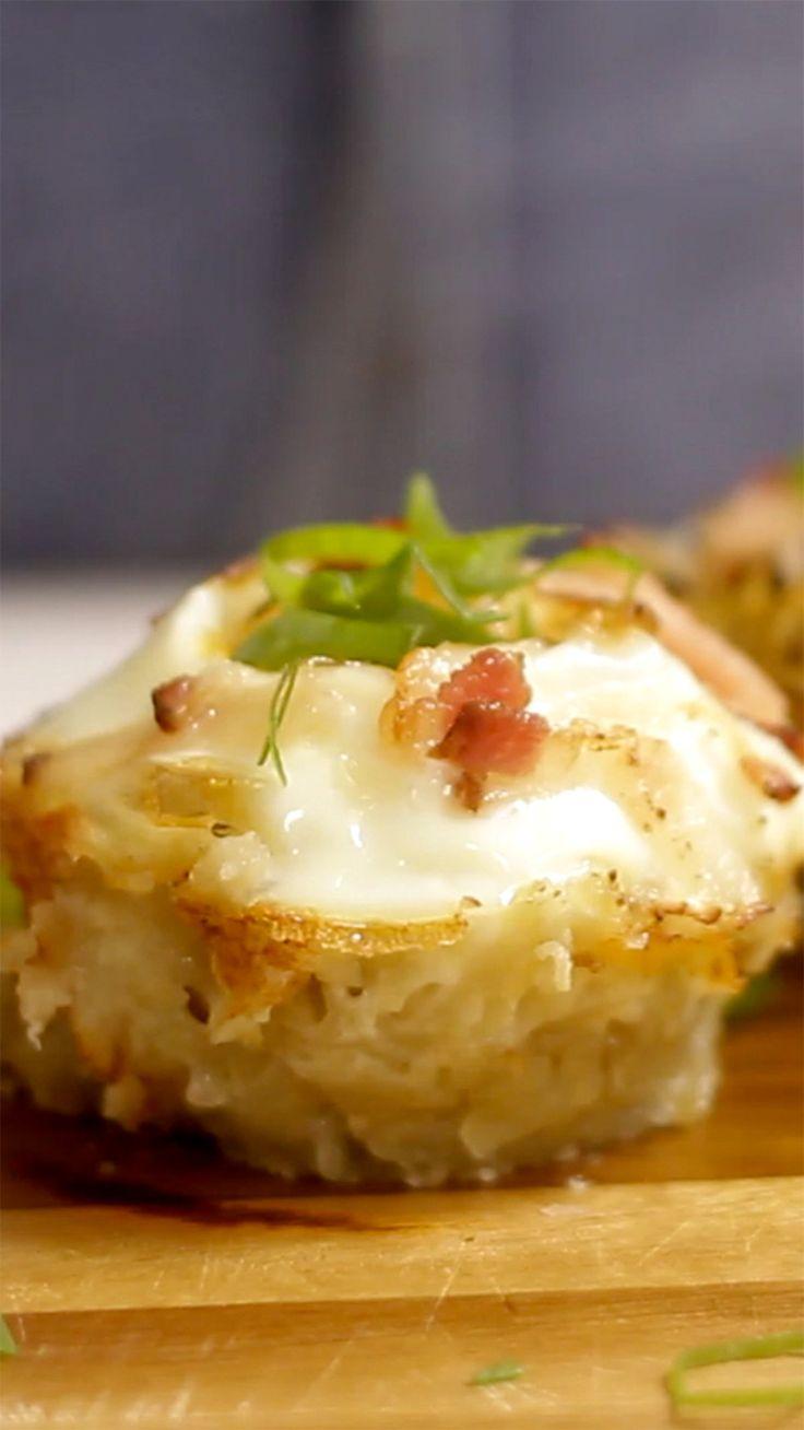Esse cestinho de batata com ovo é uma receita  sofisticada e muito saborosa.